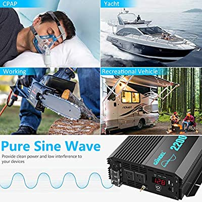 Pure Sine Wave Power Inverter 2200Watt DC 12volt to AC 120volt with Dual AC Outlets and 2.4A USB Port & LED Display Remote Controller for RV Trucks Boats and Emergency: Car Electronics