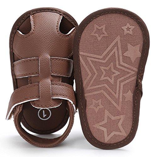 Sandalias De Bebe,BOBORA Prewalker Zapatos Primeros Pasos Para Bebe Sandalias Del Verano Del Nino Del Bebe Del Hueco De La PU marron
