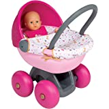 Charles Bentley Smoby Children's First Pink Pram Imaginary Pretend Role Play - Age 18+ Months
