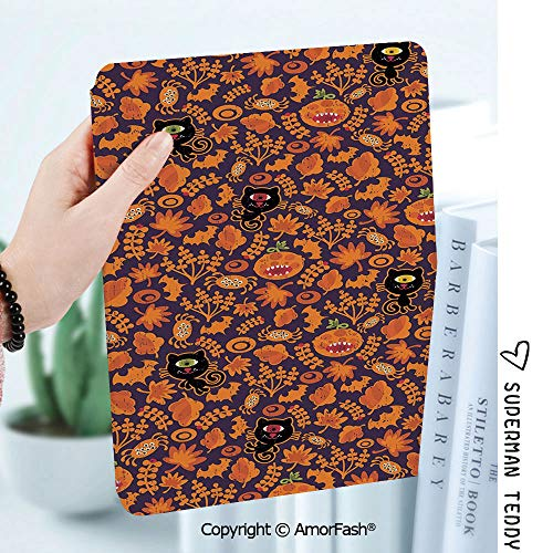 Case for Galaxy Tab A 8.0 Inch SM-T380/T385 2017,Anti Slip Kids Friendly,Vintage Halloween Halloween Themed Elements on a Purple Background Scary Mosters Decorative]()
