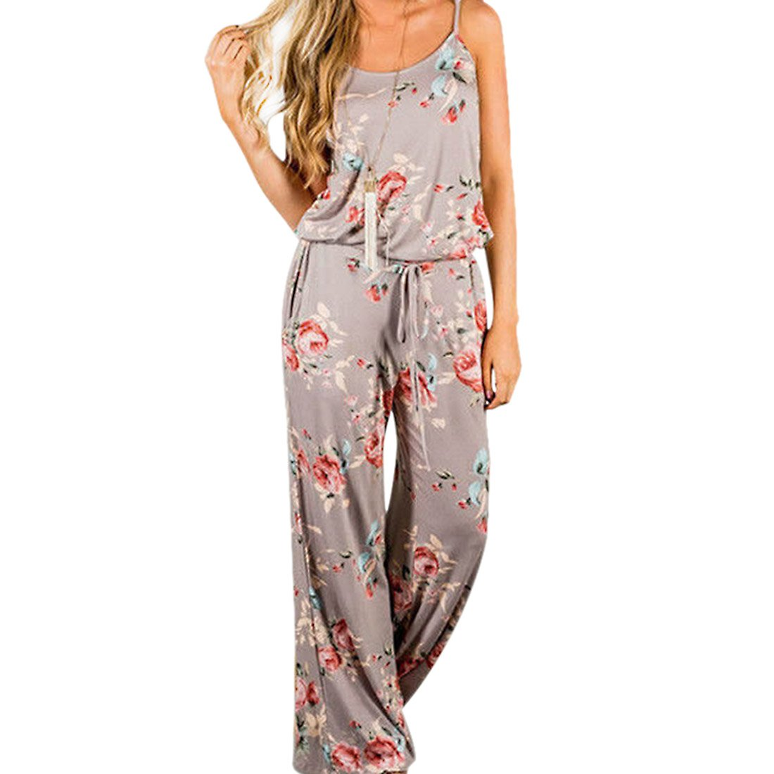 Comeon Women Sexy Sleeveless Spaghetti Strap Waist Tie Floral Print Wide Leg Long Pant Casual Loose Jumpsuit Romper (Khaki,L)