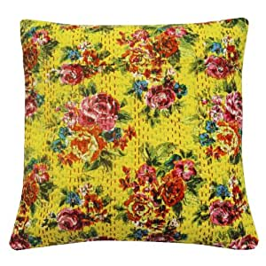 Decorative 40cm Cushion Cover 100% Cotton Yellow Kantha Floral Pillow Case Gift