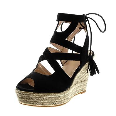 Angkorly - Chaussure Mode Sandale Espadrille Peep-Toe plateforme femme corde lacets multi-bride Talon compensé plateforme 11 CM - W1mpJt6