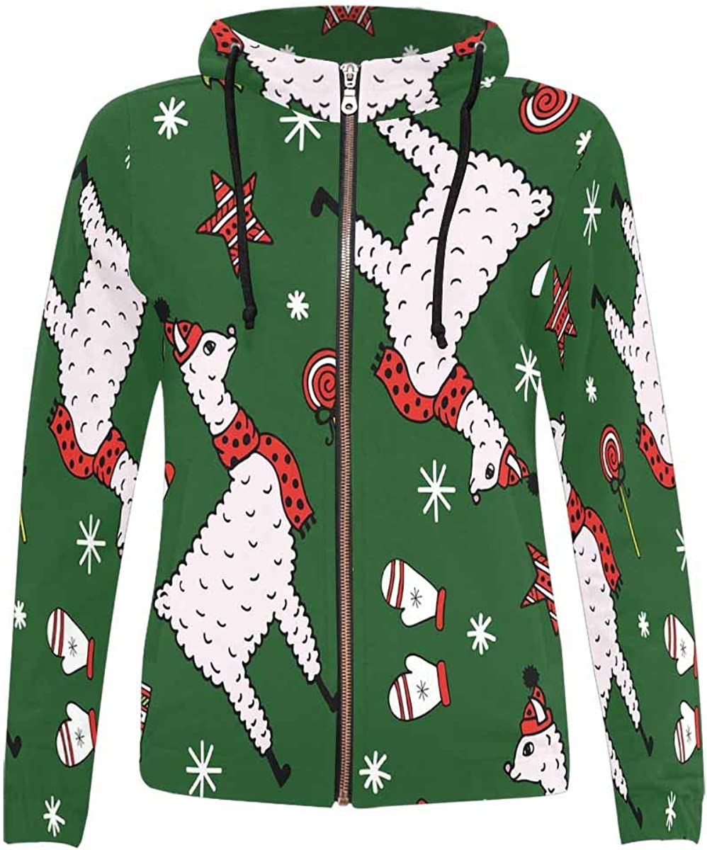 INTERESTPRINT Womens Cute Llama Christmas Hat Full-Zip Hoodie XS