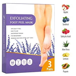 Foot Peel Mask 3 Pack, Dry Dead Skin Calluses Remover Exfoliating Repair Rough Cracked Heels for Baby Soft and Smooth Skin Feet Moisturizing Care Treatment Foot Peeling Mask Fit For Men and Women