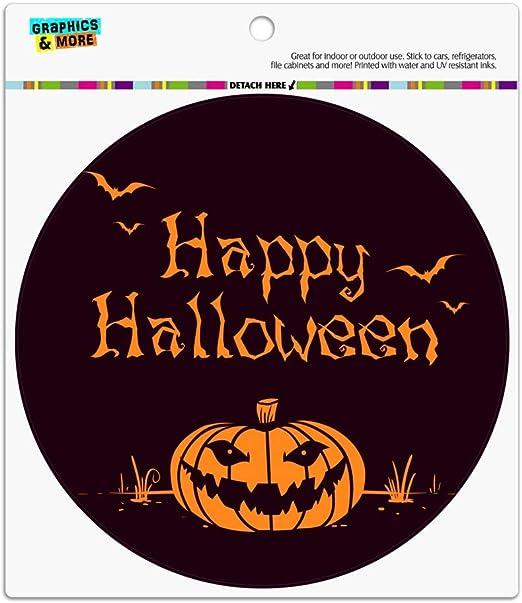 Happy Halloween Holiday Pumpkin Jack-o-lantern Bats Car Euro Oval Magnet