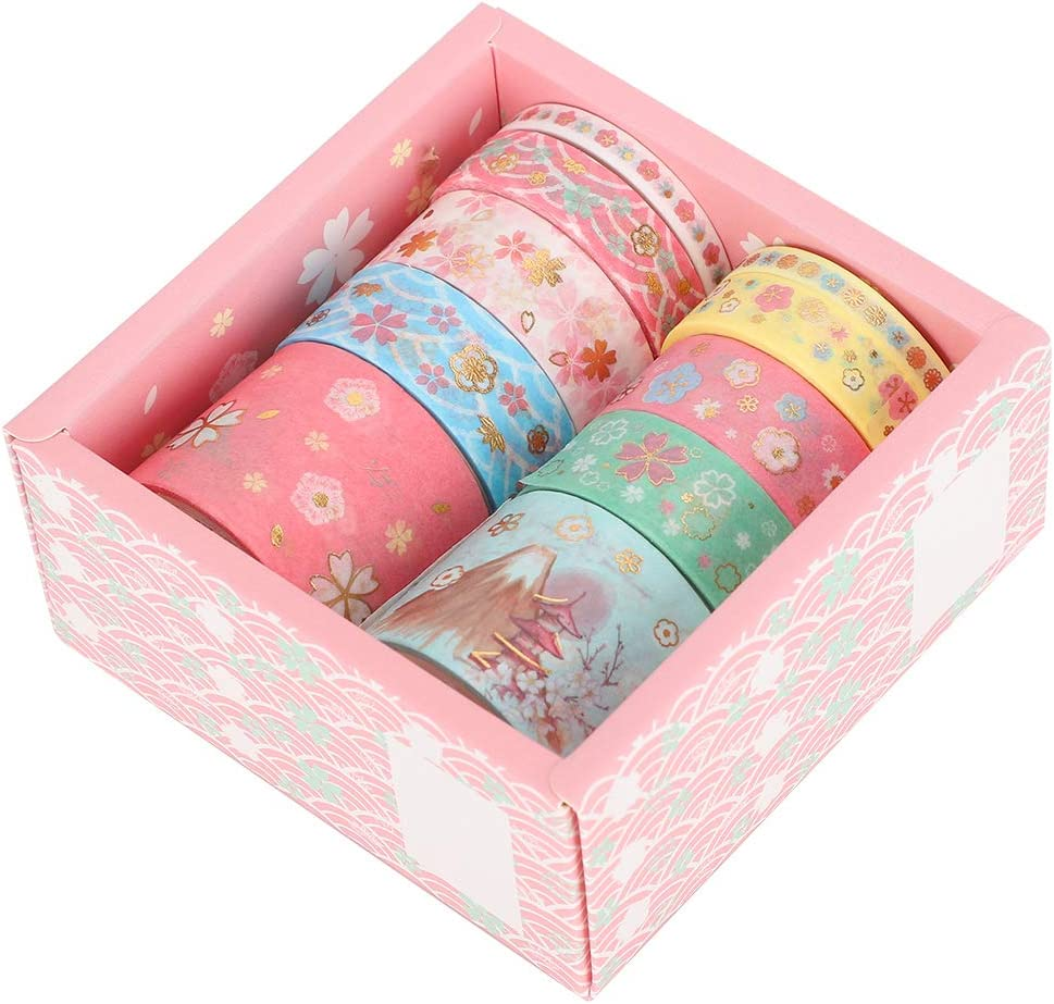 HERCHR Juego de 10 Rollos de Cinta Washi de l/ámina Dorada Cinta Adhesiva Japonesa Floral rom/ántica para Manualidades DIY /álbum de Recortes Bullet Journal
