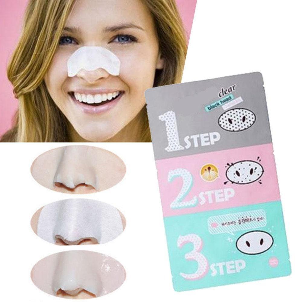 Mascarilla para nariz de cerdo para eliminar el acné de cabeza negra y transparente, kit de 3 pasos, belleza, limpieza facial, cosméticos: Amazon.es: ...