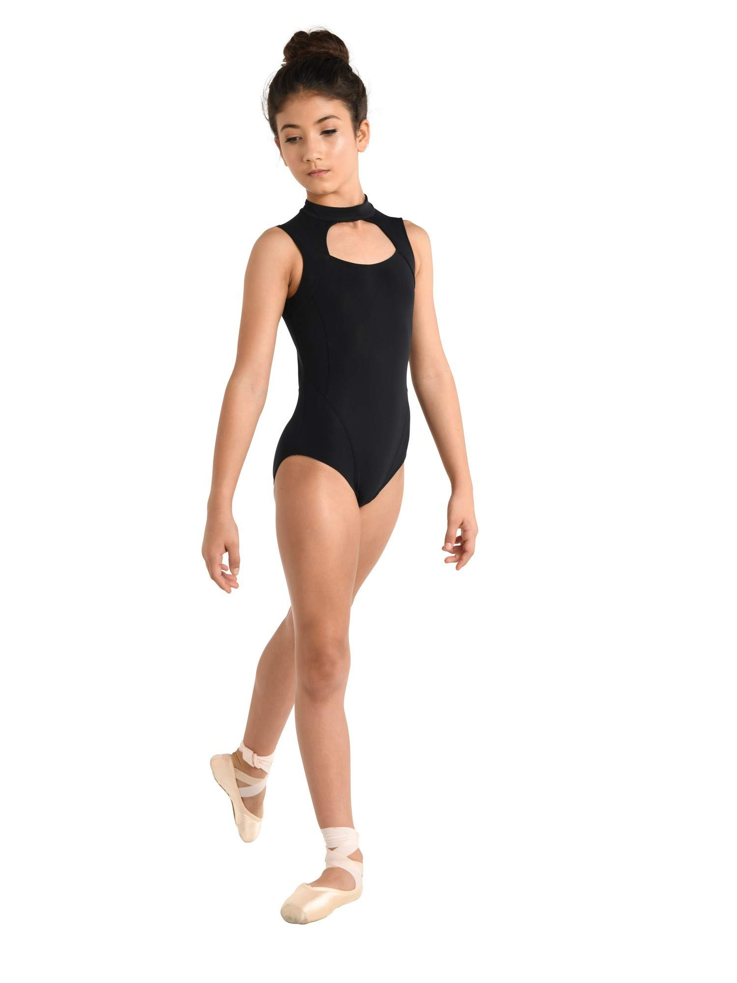 Danshuz Youth Mock Turtleneck Scuba Style Dance Costume Leotard Black 12-14 by DanzNmotion by Danshuz