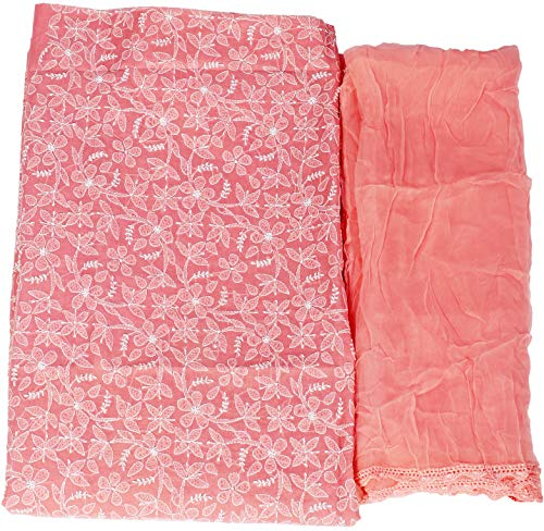 Exotic India Pink-Icing Salwar Kameez Fabric with Lukhnavi Chikan Embroidery All Over