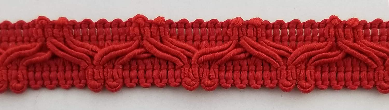 12 Continuous Yards Many Colors 1//2 Designer Braid Gimp Trim Red Made in USA