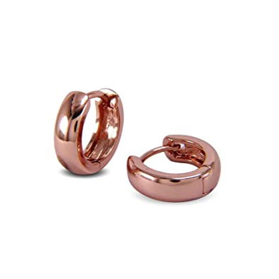 f0030017f Blue Diamond Club - 9ct Rose Gold Filled Very Small Plain Huggie Hoop  Earrings Mens Womens Unisex: Amazon.co.uk: Jewellery
