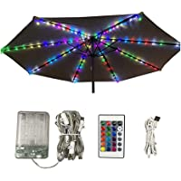 DINAPENTS Patio Umbrella Lights Parasol Lights with Remote Control Timer 16 Colors 104 LED Umbrella Pole Light Battery Operated Waterproof for 9ft-10ft Umbrella Sunshade Outdoor Lighting Camping Tents