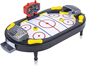 Gamie Hockey Tabletop Game, Desktop Sports Game with Mini Hockey Table, 2 Pucks, and Scoreboard, Fun Indoor Games for Home, Office and Game Night, Best Gift Idea for Kids