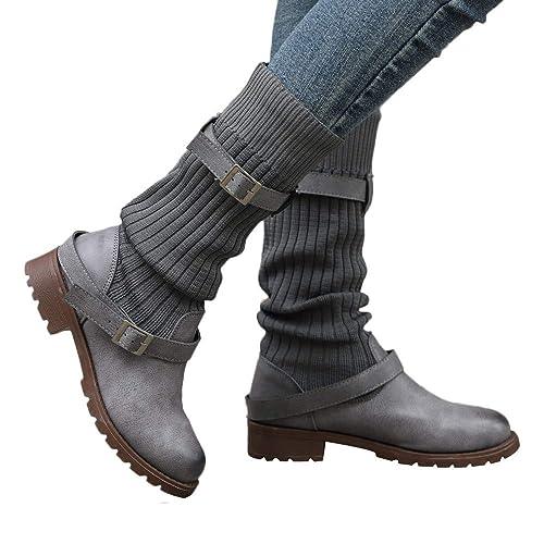 Botines Biker tacón Ancho Grueso Mujer Invierno PAOLIAN Botas Militares de Calcetines Piel Hebilla Altas Forradas Botas Camperas Marron Retro Zapatos Cuero ...
