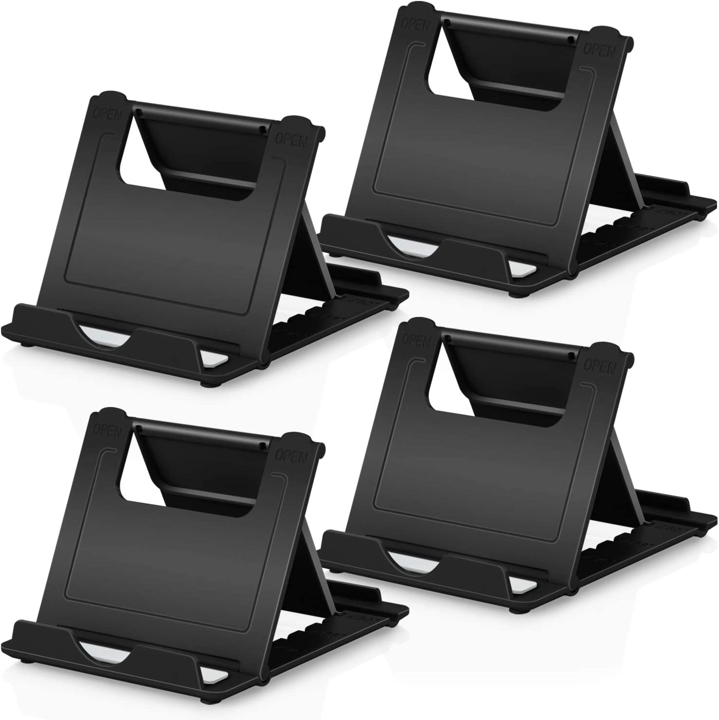 """Cell Phone Stands Holder, 4Pack Aupek Foldable Adjustable Lightweight Desktop Dock Android Phone Holder for Desk Compatible Devices (4-7.9"""") iPhone 11 Xs Max XR 8 7 6 Samsung Galaxy S10 S9 S8- Black"""