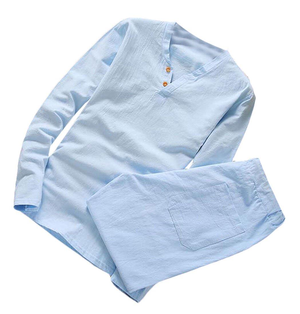 UUYUK-Men 2 Pieces Linen Cotton Long Sleeve Shirt + Pants Outfits