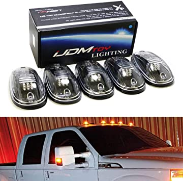 iJDMTOY Smoked Lens White LED Cab Rooftop Marker Lamps For Chevrolet Dodge GMC Ford RAM Nissan Toyota Trucks 5-Piece Roof Running Light Set