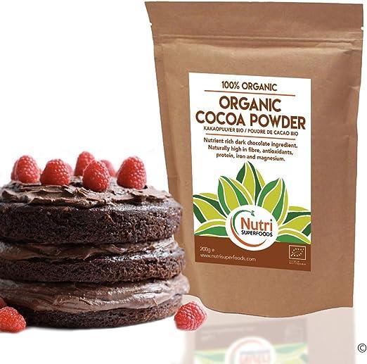 Polvo de Cacao Orgánico, chocolate negro vegano nutritivo, sin ...