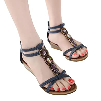Women Summer Sandals HEHEM Bohemian Women Gemstone Slippers Summer Beach  Sandals Wedge Sandals Silver Sandals Womens Shoes Ladies Shoes Black Sandals   ... de379fb0eede