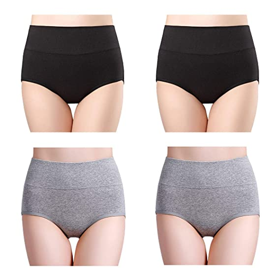 3a04ae16015 wirarpa Women s Soft High Waisted Cotton Underwear Ladies Full Brief  Panties Black Heather Gray Size 0