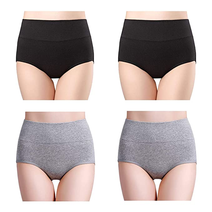 b6493150f97 wirarpa Women s Cotton Underwear High Waisted Full Brief Panty No Muffin  Top Underpants 4 Pack Black