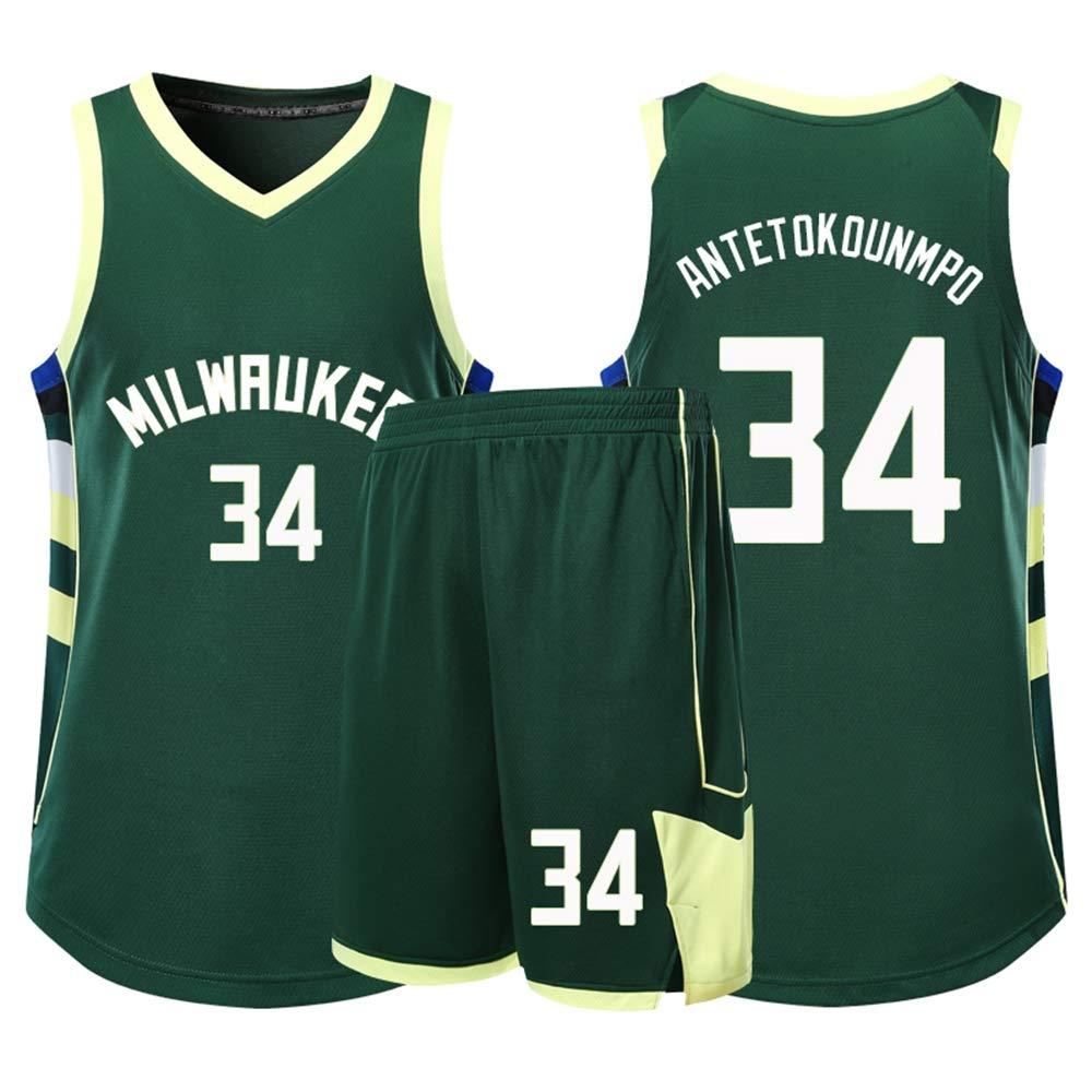 170~175cm Basketball Jersey NBA # 34 Giannis Antetokounmpo Milwaukee Bucks Kids Adults Unisex Competition Sports Team Uniform Basketball Clothes Set Sportswear,2XL