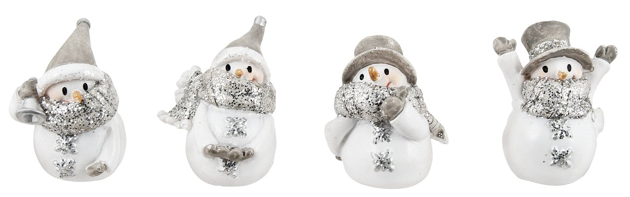 "Ganz 1.5"" Miniature Glittered Snowman Figurines - Set of 4 Assorted Styles"