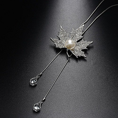 Jaywine2 Cat Eye Opal Crystal Maple Leaf Pendant Long Silver Chain Necklace Pearl