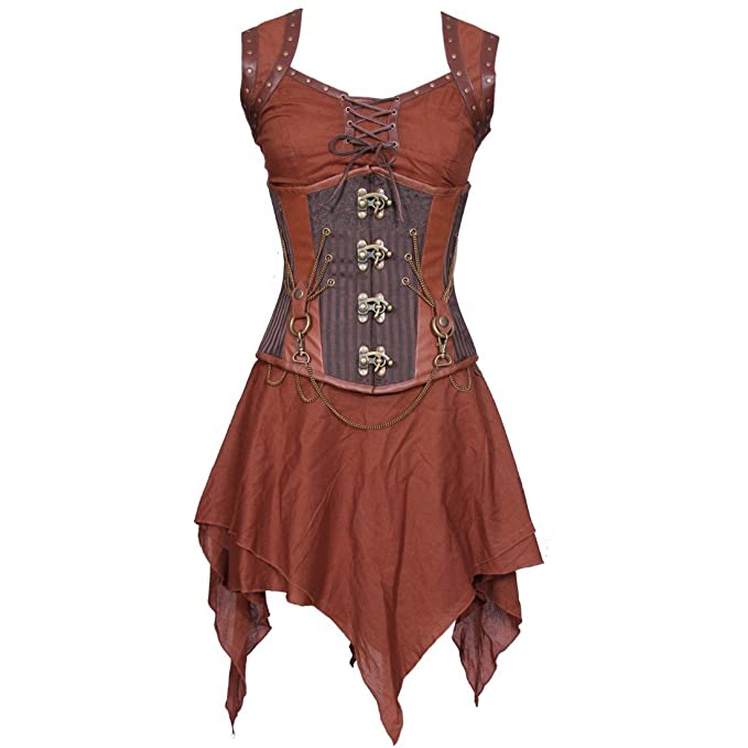 Steampunk Corsets and Belts Weapon Masters Drinking Gown Steel Boned Corset Dress - Plus $122.00 AT vintagedancer.com