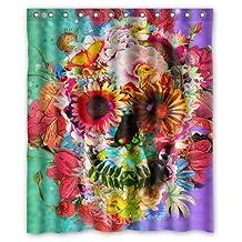 """Pretty Flower Sugar Skull Art Waterproof Bathroom Fabric Shower Curtain,Bathroom decor 60"""" x 72"""""""