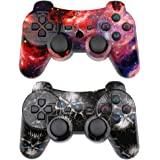 CHENGDAO PS3 Controller 2 Pack Wireless Dual Shock Upgraded Gamepad for Sony Playstation 3 with Charging Cord (Skull + Galaxy