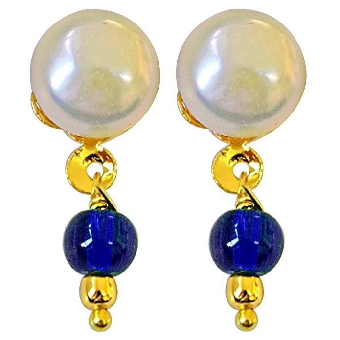 Blue Stone /& Real Freshwater Pearl With Gold Plated Hanging Earrings SE158