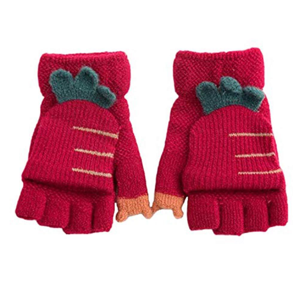 Kid Half Finger Gloves Toddler Girl Flip Winter Mittens Full Finger Knit Carrot Magic Gloves Touchscreen Elastic Mitts