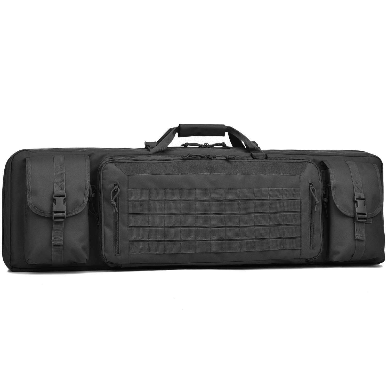 BOW-TAC Double Long Rifle Gun Case Bag Tactical Rifle Backpack Pistol Soft Firearm Transportation Carbine Case - Lockable Compartment, Available Length in 36'' 42'' 46''