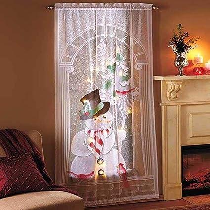 Rideau de Noel Fenetre Décoration de Noël Interieur Snowman Modèle Rideau  Moderne Et Transparent Pour Noël, Curtain pour Christmas 213 * 102cm
