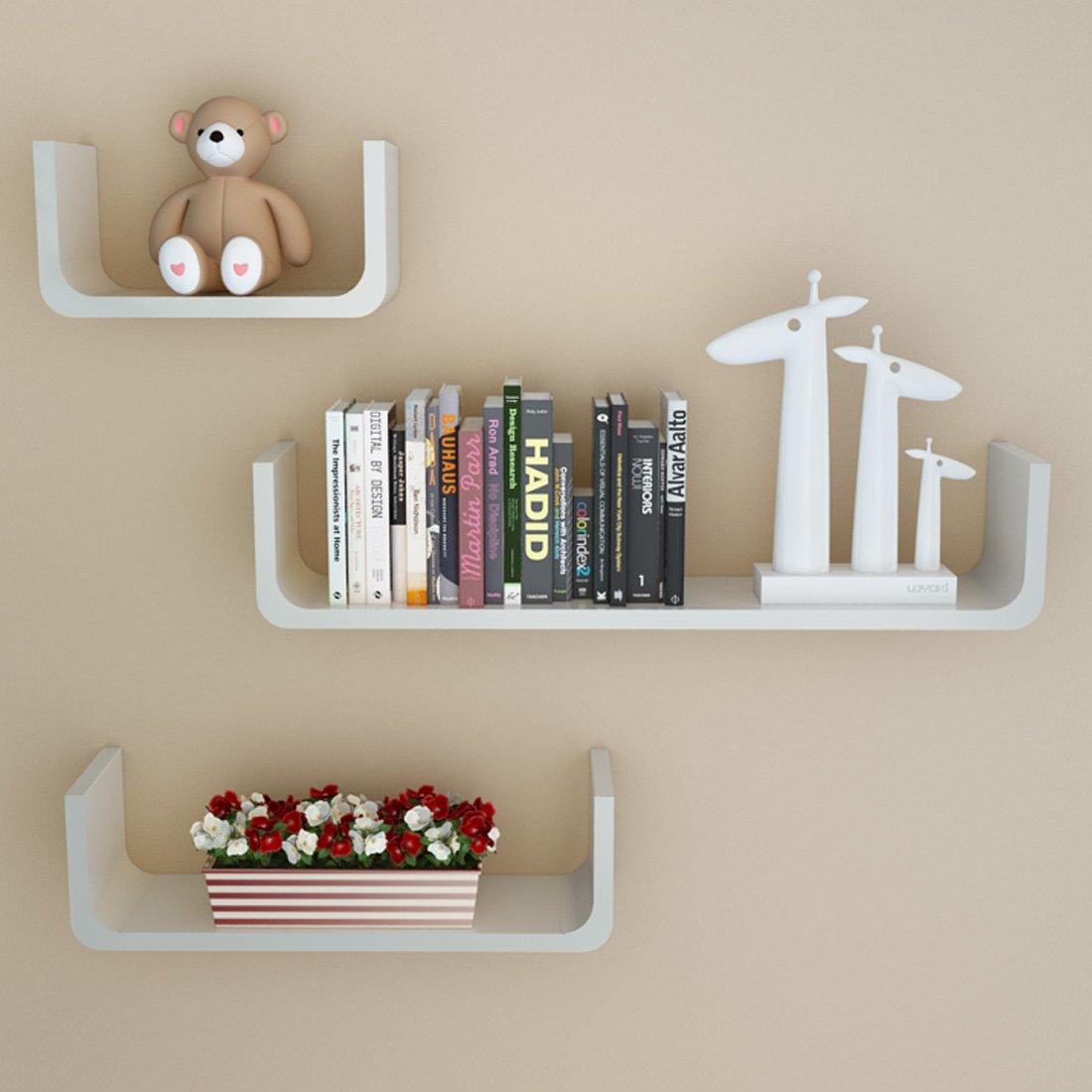 Rerii Floating Shelves, Set of 3 Floating U Shape, Wall Mounted Decorative Shelves, Display Ledges for Picture Frames Book, Storage Shelf for Living Room Bedroom Bathroom
