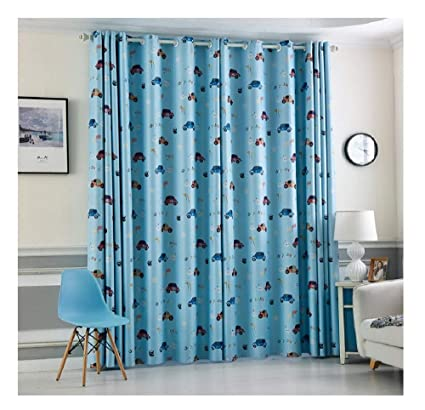 TIYANA Blue Cloth Cartoon Print Cars Curtains For Kids Boys Metal Grommet  Thermal Insulated Semi Blackout