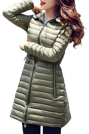 queenshiny Damen Lange Dünne Daunenjacke Mantel Jacke mit Kapuze Winter