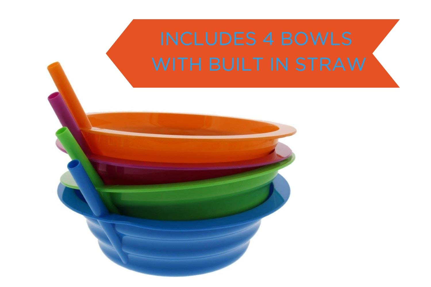Arrow Sip-A-Bowl With Built In Straw, 22 oz, Blue, Purple,Green, Orange (4 Pack) by Arrow Home Products (Image #2)