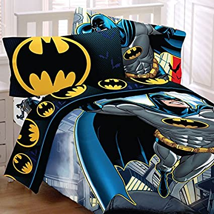 Batman Full Bedding Set Rooftop Superhero Comforter Sheets