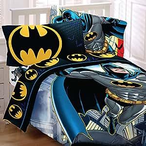 batman twin bedding set rooftop superhero comforter sheets home kitchen. Black Bedroom Furniture Sets. Home Design Ideas