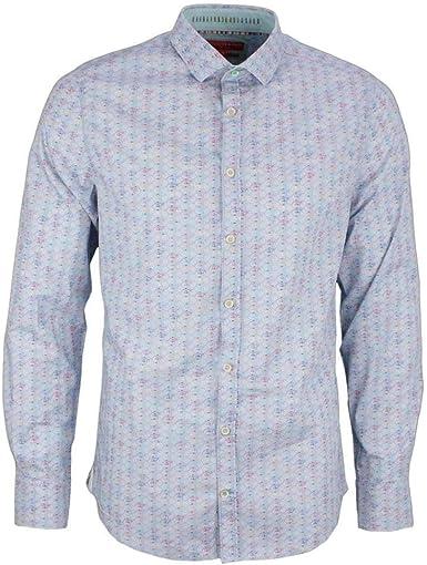 Colours & Sons Camisa de manga larga para hombre con estampado floral Brian