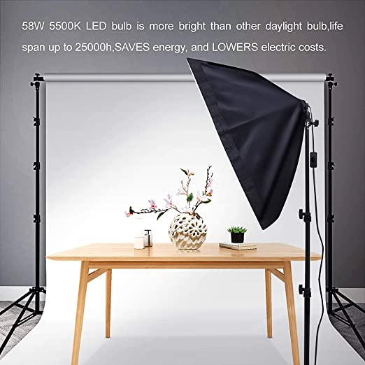 3 Pack 1600W Softbox Photography Lighting Heorryn Continuous Softbox Lighting Kit 20X28 Professional Photo Studio Equipment with 2M Adjustable Stand and 5500K LED Bulb for Video Filming Portraits