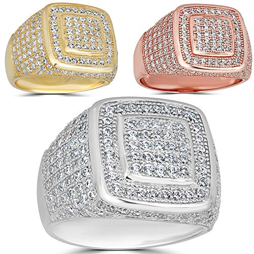 Harlembling Solid 925 Sterling Silver Men's Ring Iced Out - Pinky Square Ring - Yellow, Rose, Or Natural Silver - ICY Hip Hop Ring (Sterling-Silver, 11) ()