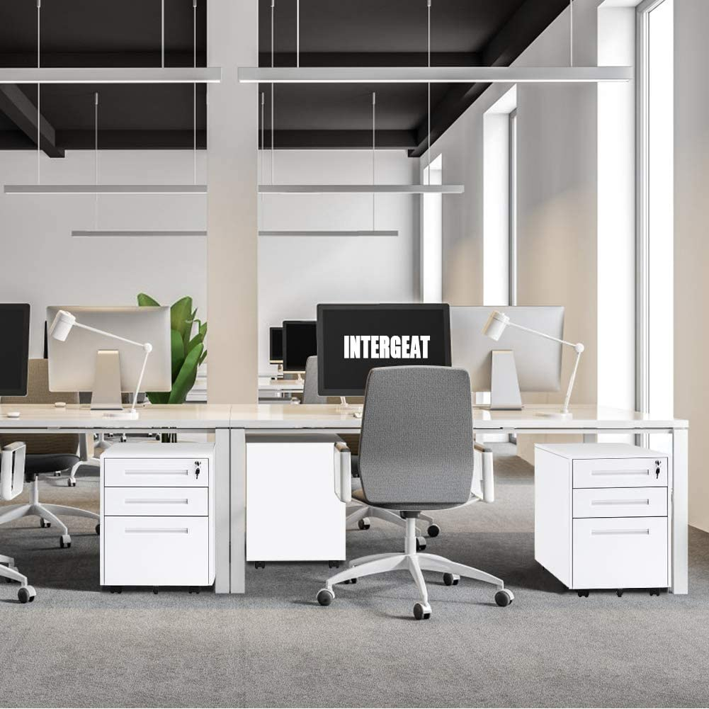 INTERGREAT Mobility Cabinet for Closet//Office Rolling Filing Cabinet 3 Drawers Fully Assembled White B