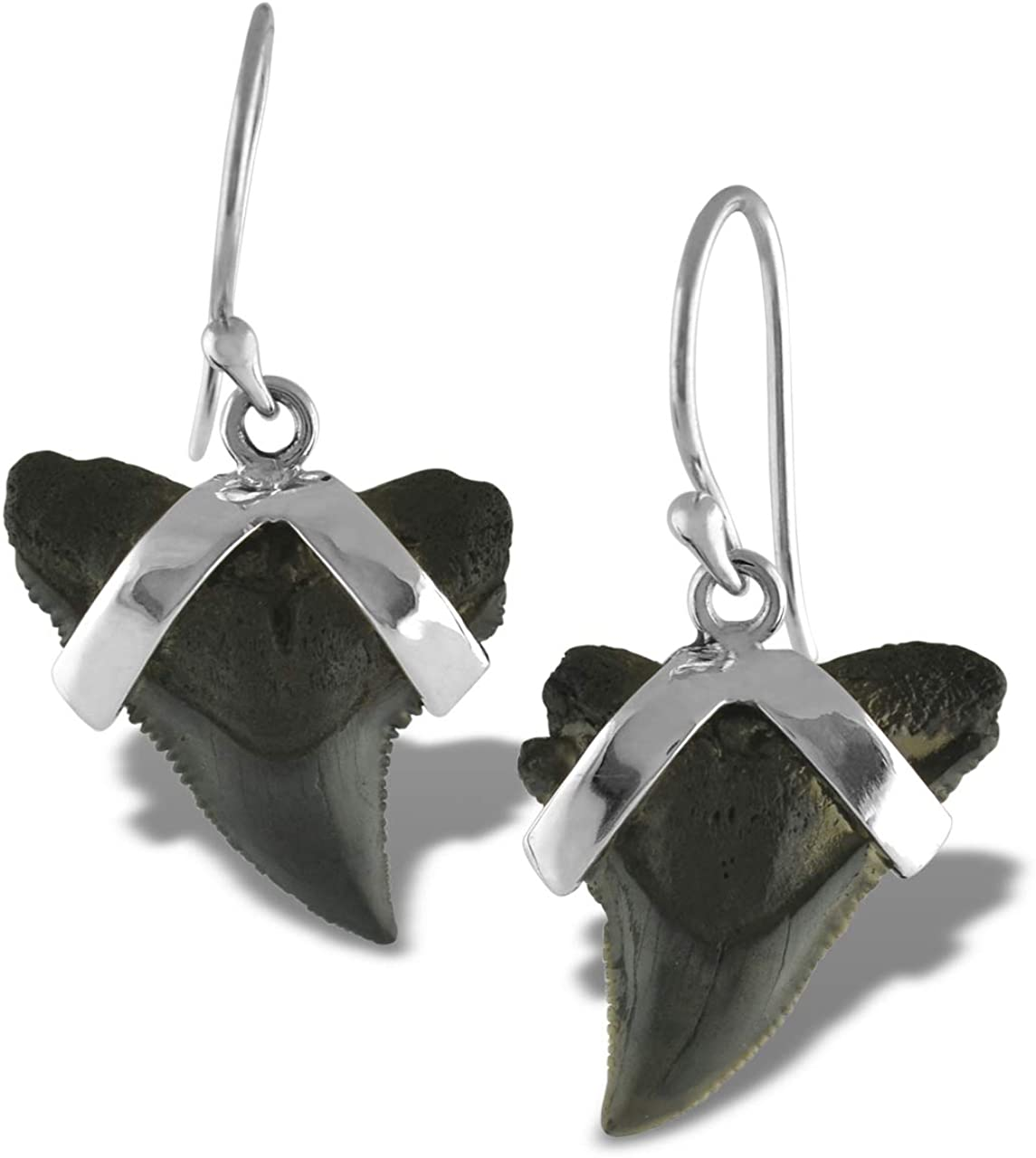 Fossil Shark Tooth Sterling Silver Earrings