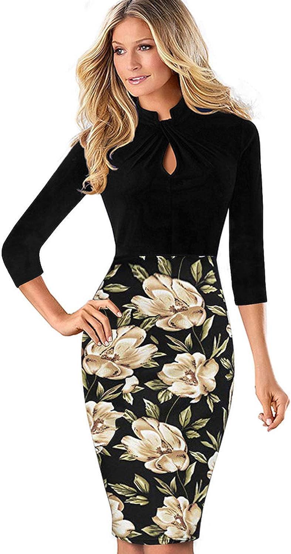 MisShow Damen Elegant 15/15 Arm Stehkragen Bodycon Etuikleider Business  Kleider Bleistiftkleid Stretch Knielang
