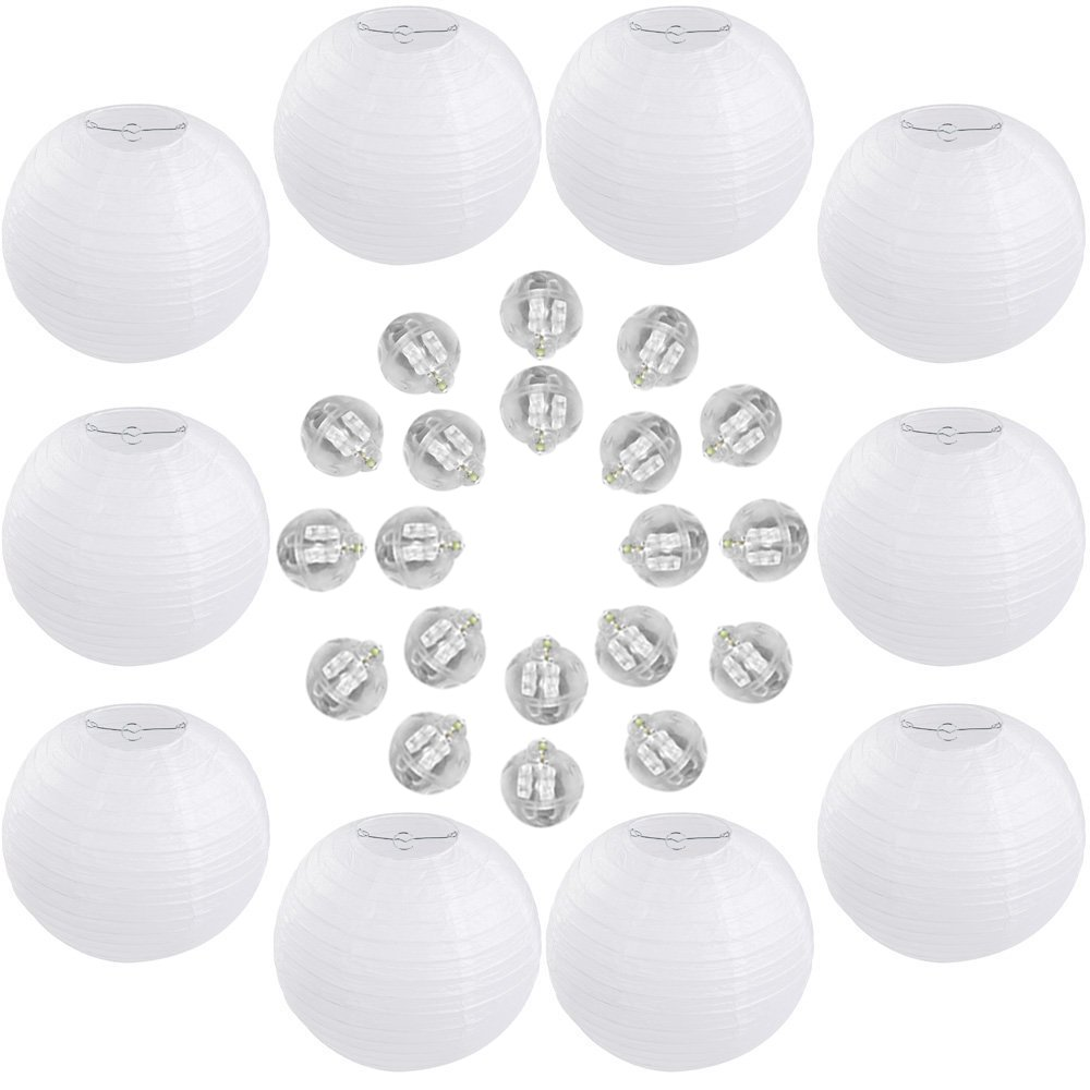 White Round Paper Hanging Lanterns, 12 Inch, 10 Packs + 20 White LED Ball Lamp Balloon Waterproof Long Lasting Lights, for Wedding/Baby Shower/Birthday/Anniversary/Home/Chinese/Japanese/Decoration