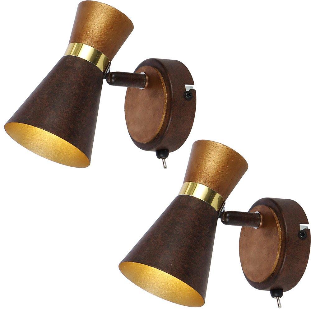 2er Set Wand Leuchte Holz Spot Strahler schwenkbar gold Beleuchtungen Lampen Schalter